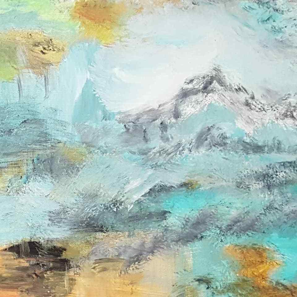 """Tableau abstrait """"Le Lac"""""""