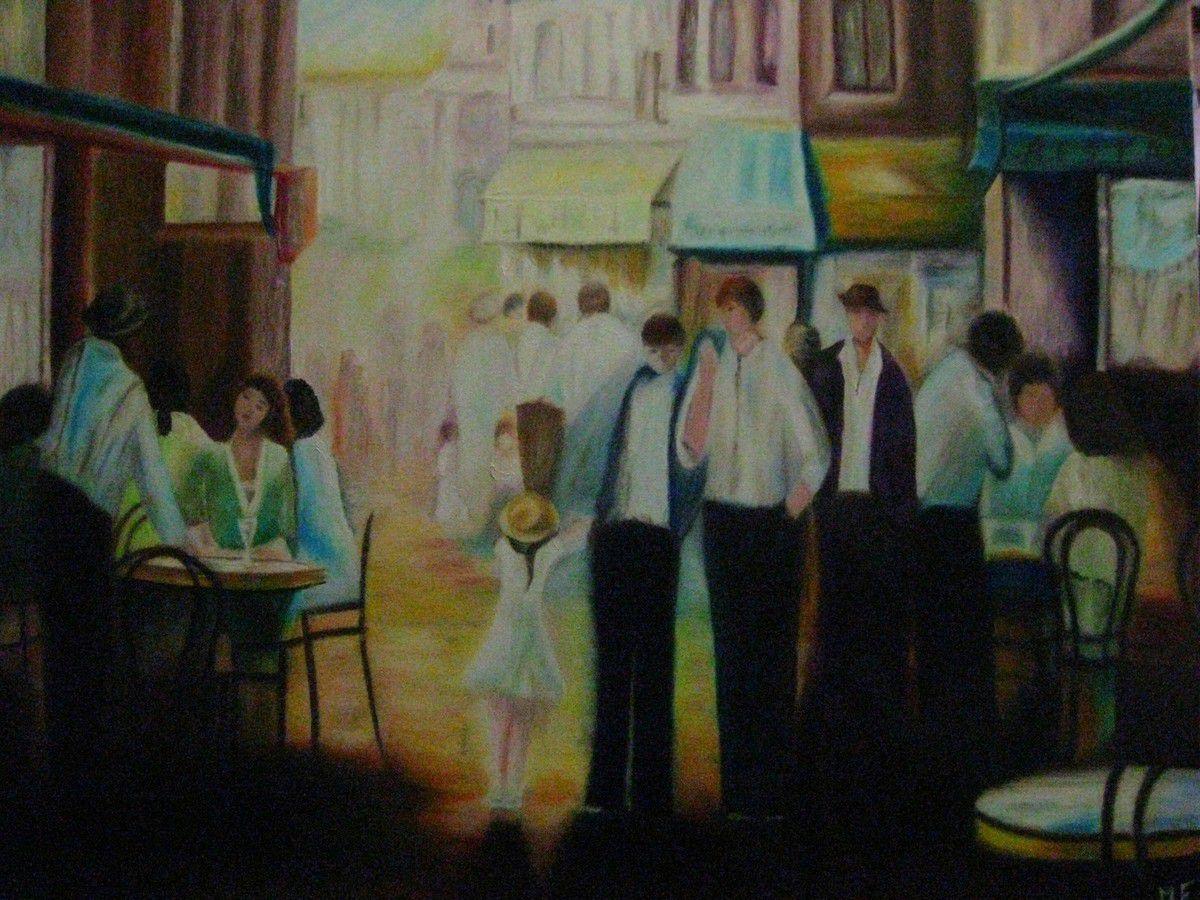 Les terrasses réalisées par Monique, l'étang fleuri au couteau par Brigitte et marine au couteau par Nadine. Toutes ces peintures sont réalisées à l'huile.