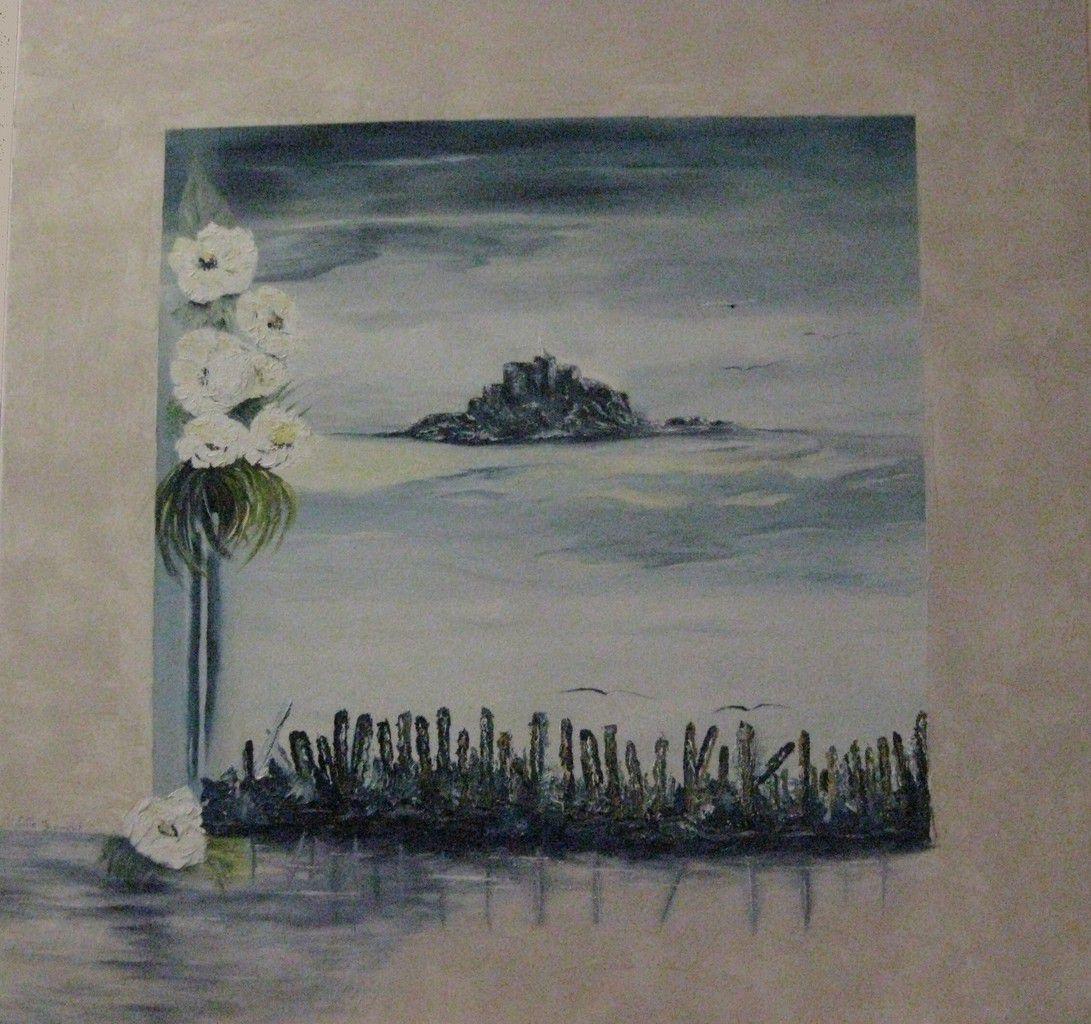 Le Mont St Michel réalisé à l'huile/couteau, par Michelle. Les coquelicots par Régine. L'étang par Danielle à l'huile/couteau