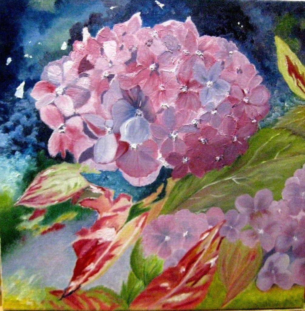 Voici la dernière peinture de Danièle. Cette couleur rose dans la nuit, fait ressortir cette fleur. Bravo Danièle !!