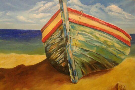 Enfin terminé ! Une belle barque sur le sable, réalisée par Amandine, superbement bien réussie !