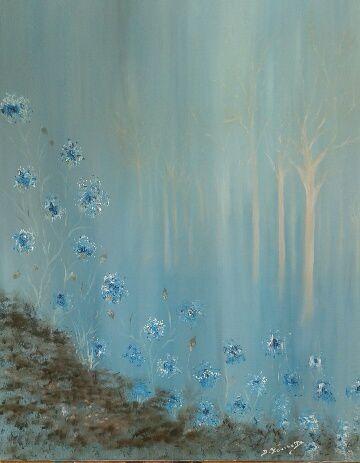 Les bleuets réalisés à l'huile par Danielle,  sans modèle !!