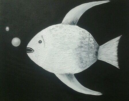 Un joli poisson réalisé à l'huile et au couteau. Peint par Simone, superbe !!