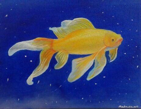 Ce joli poisson jaune, peint à l'huile par Mamoune, fera la joie de son petit fils !!