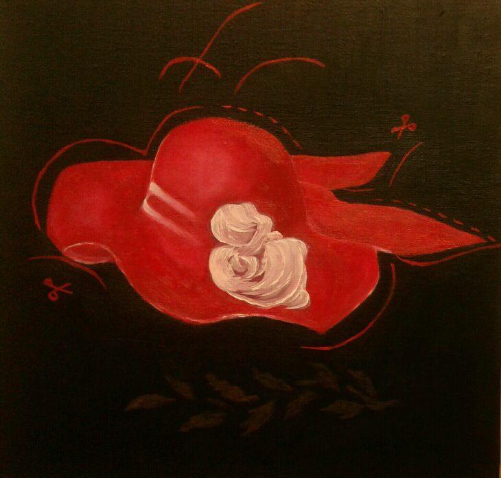 Chapeau rouge de haute couture, réalisé par Claudette ! super non !! J'aime beaucoup. Bravo !!
