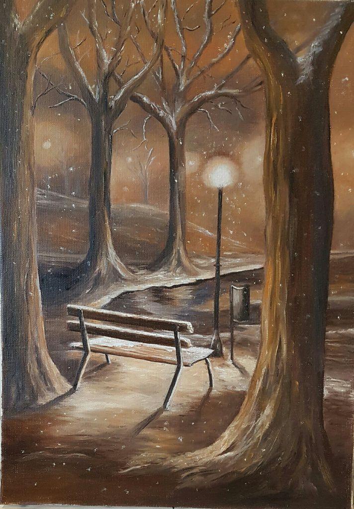 Vive la reprise ! Magnifique peinture à l'huile, réalisée par Elisabeth. J'aime beaucoup ces couleurs, franchement le résultat est superbe, bravo Elisabeth !!