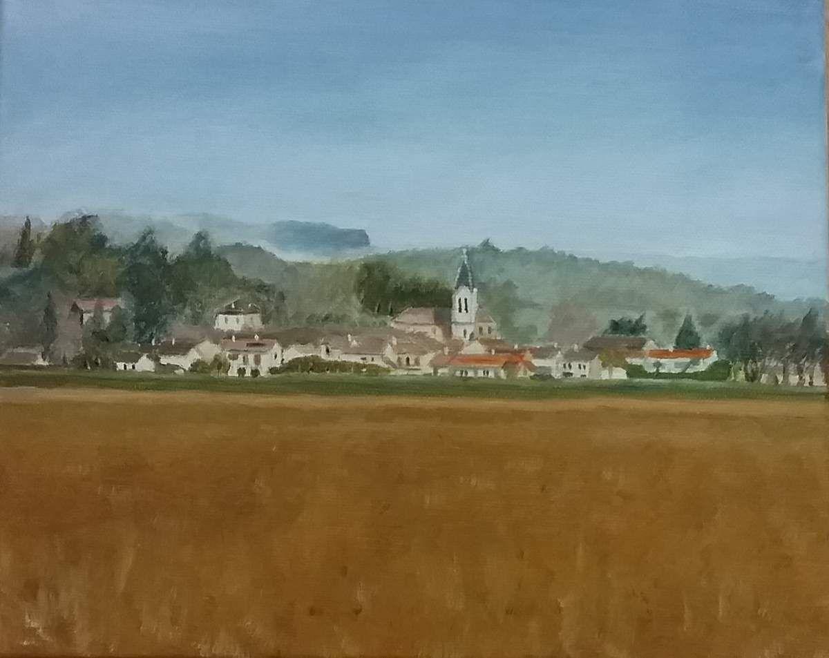 Peinture à l'huile, d'après une photo prise par Ded. Très beau village, bravo Ded !!