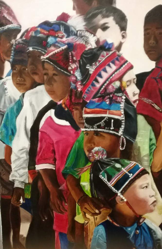 Une très belle peinture réalisée à l'huile, d'après photo. Sortie d'école au nord de la Thaïlande,(Triangle d'or)  en 2003. Bravo Céline, superbe tableau avec des couleurs pleines de lumière !!