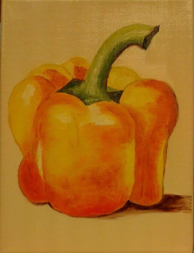Il est pas beau le poivron peint à l'huile par Claudette ? En plus en très peu de temps ! Elle progresse notre artiste !!