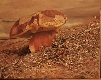 Un très beau bolet peint à l'huile par Régine. Superbement bien réussie, on n'en mangerait non !!