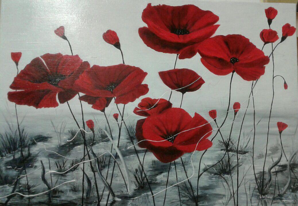 Ces beaux coquelicots, peint à l'huile, sont réalisés par Elisabeth ! Bravo  !!