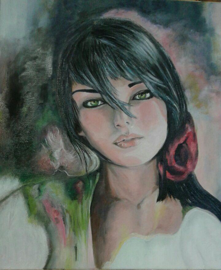 Cette belle jeune fille sérieuse est réalisée à l'huile par Marina. Ce travail est remarquable, je suis admirative. Bravo Marina !!