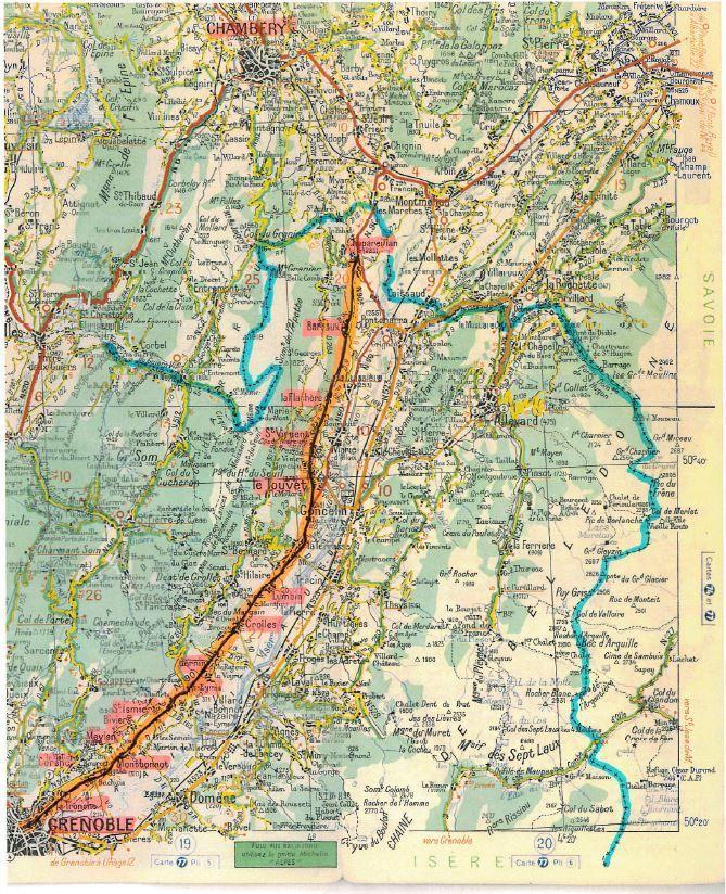 De Grenoble à  Chapareillans . En bleu : frontière Isère-Savoie ( carte Michelin de 1965)