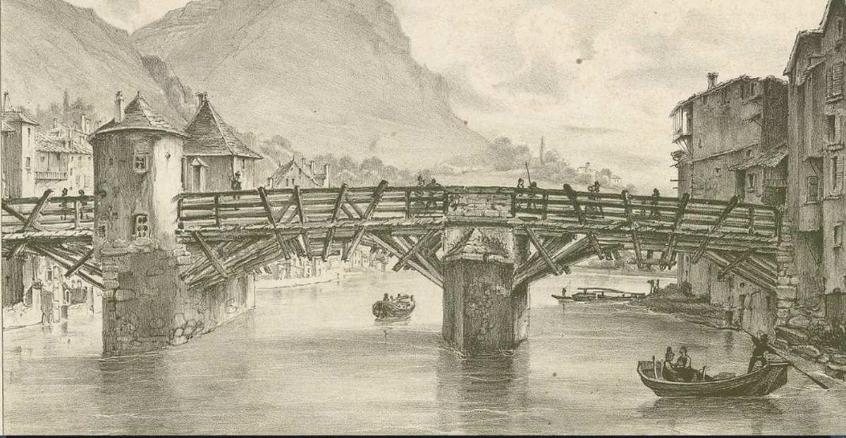 Pont en bois entre centre et quartier St Laurent - début XIX siècle  (Bibliothèque municipale de Grenoble)