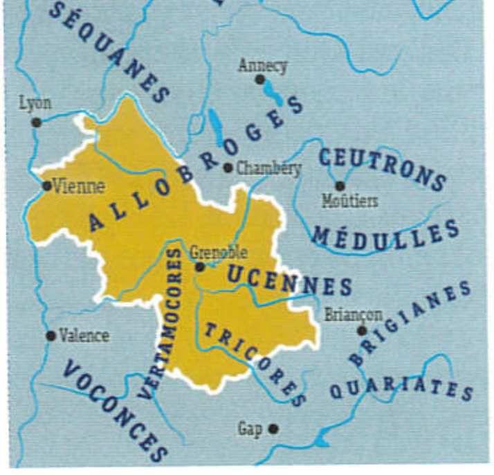 Répartitions des peuples gaulois dans l'Isère
