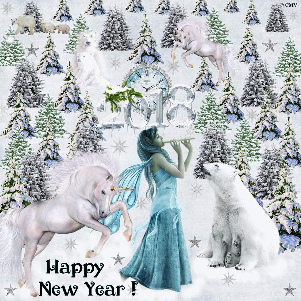 """Card gif """"Happy New Year"""" 2018 with fairy, polar bears and unicorns (in english)"""