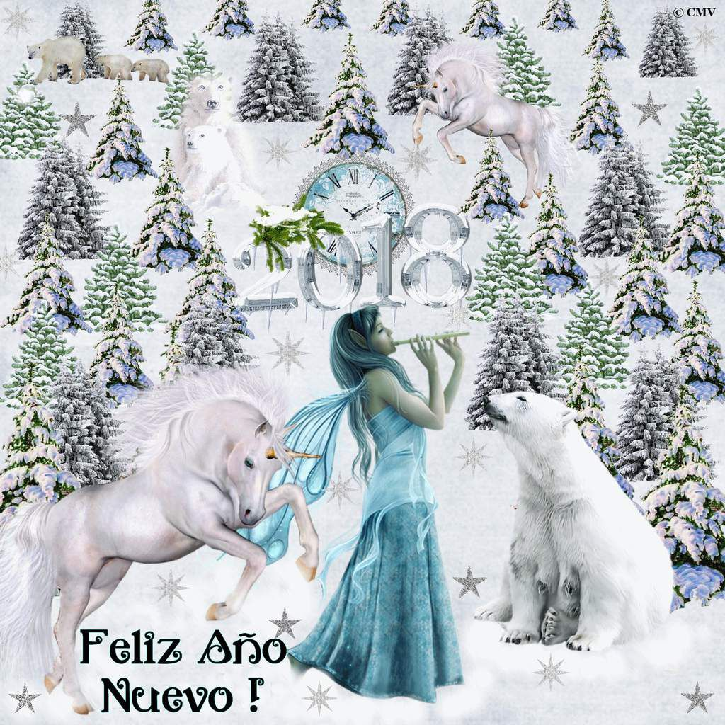 """Carta gif """"Feliz Año Nuevo"""" 2018 con hada, osos polares y unicornios en español"""