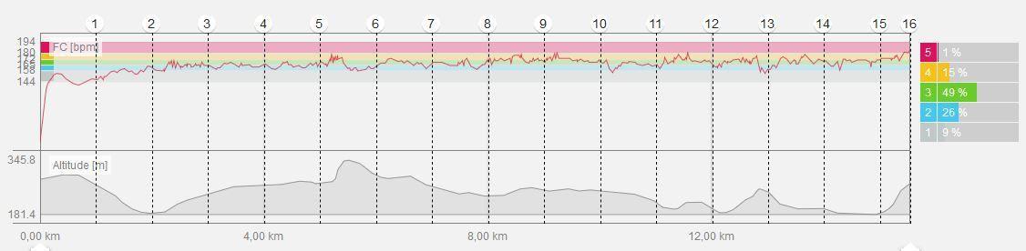 Trace GPS, courbes dénivelé et FC, laps tous les 5 km.
