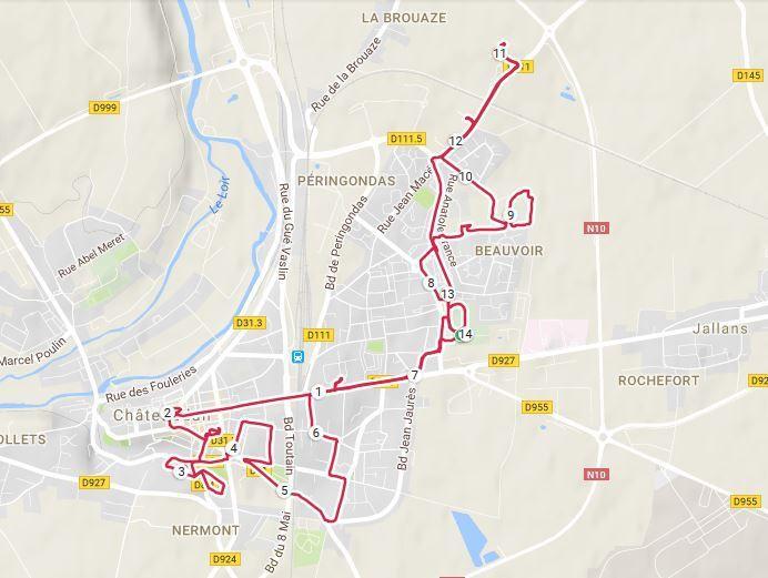 Ma trace GPS du parcours.  1h30 et 13,30 km.