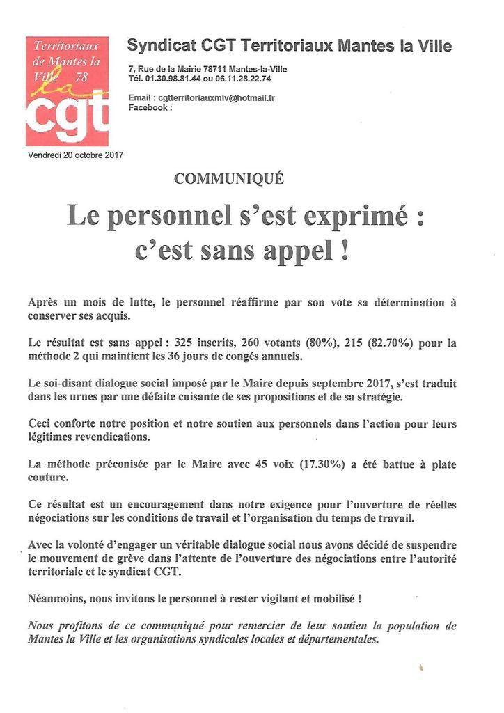Mairie de Mantes-la-Ville - Le personnel s'est exprimé - C'est sans appel : Près de 83% pour les propositions de la CGT