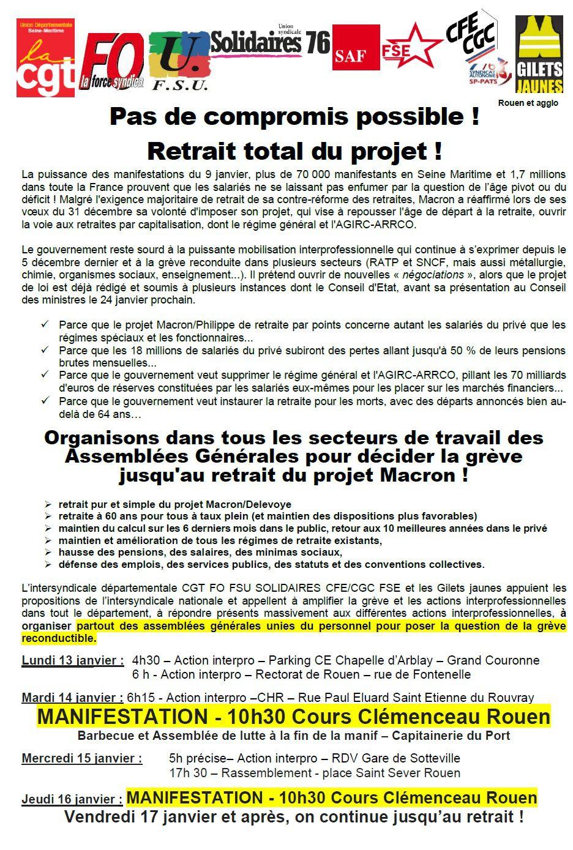 """Rejet de l'arnaque Berger-Philippe surnommée """"compromis sur l'âge pivot"""" - Mobilisations prochaines les 13, 14, 15 et 16 janvier en Seine-Maritime"""