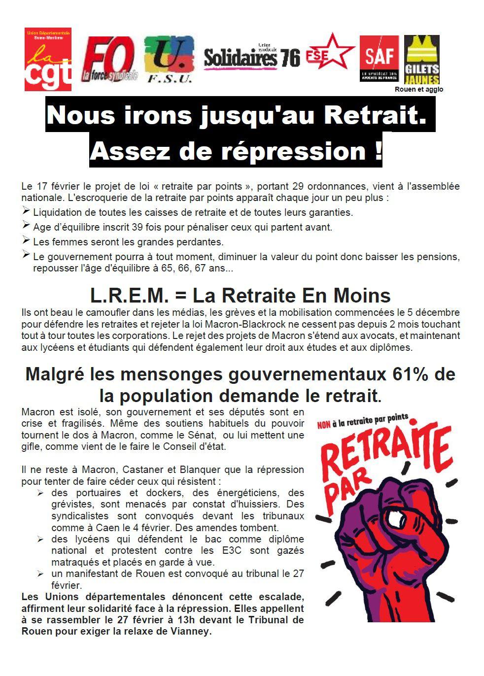 ROUEN - Appel commun à mobilisation contre le projet Macron-Philippe : Nous irons jusqu'au retrait, Assez de répression !