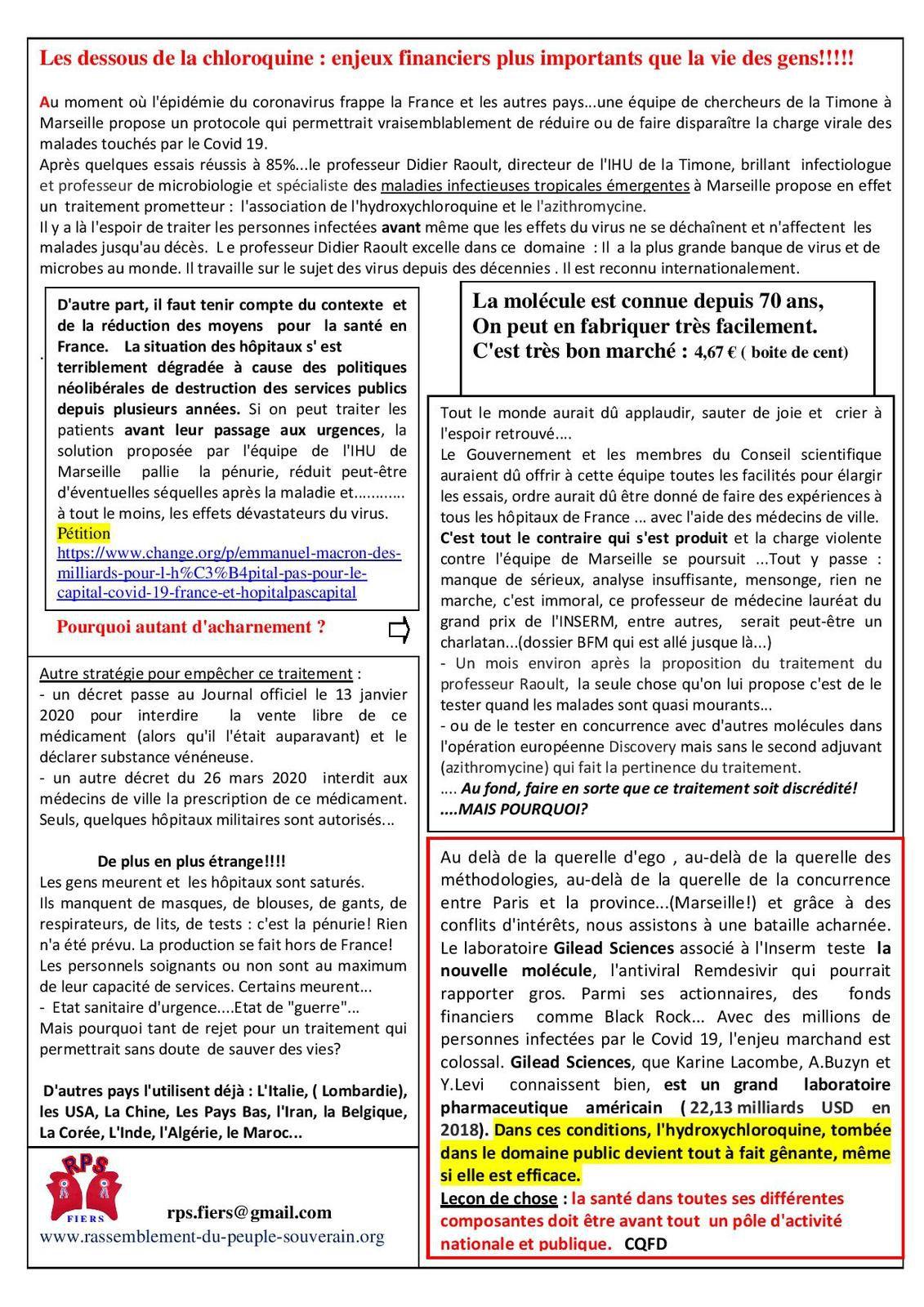 Les dessous de la Chloroquine : enjeux financiers plus importants que la vie des gens ! [ Rassemblement du peuple souverain]