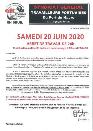 20 juin - Le Havre : Marche blanche en hommage au docker enlevé et tué - La Déclaration de la CGT des travailleurs portuaires du port du havre