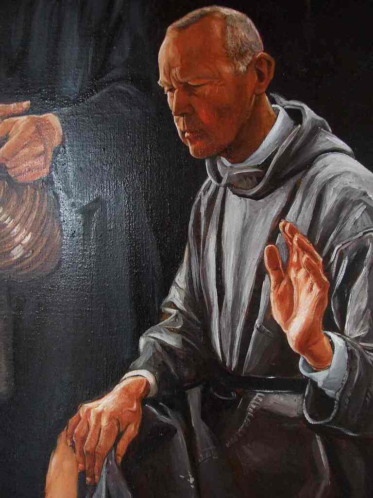 """L'élaboration de ce tableau s'est échelonnée sur 4 ans. La communauté bénédictine de l'abbaye Notre-Dame de Randol a suivi et accompagné la réalisation de ce tableau. Les douze apôtres, Jésus, et le serviteur qui verse l'eau, sont des moines de l'abbaye, chacun ayant eu à cœur de poser pour parfaire l'achèvement du tableau. Il s'agit d'une de mes maitresses œuvres. Elle est visible au réfectoire de l'abbaye. """"La Cène et le lavement des pieds""""."""