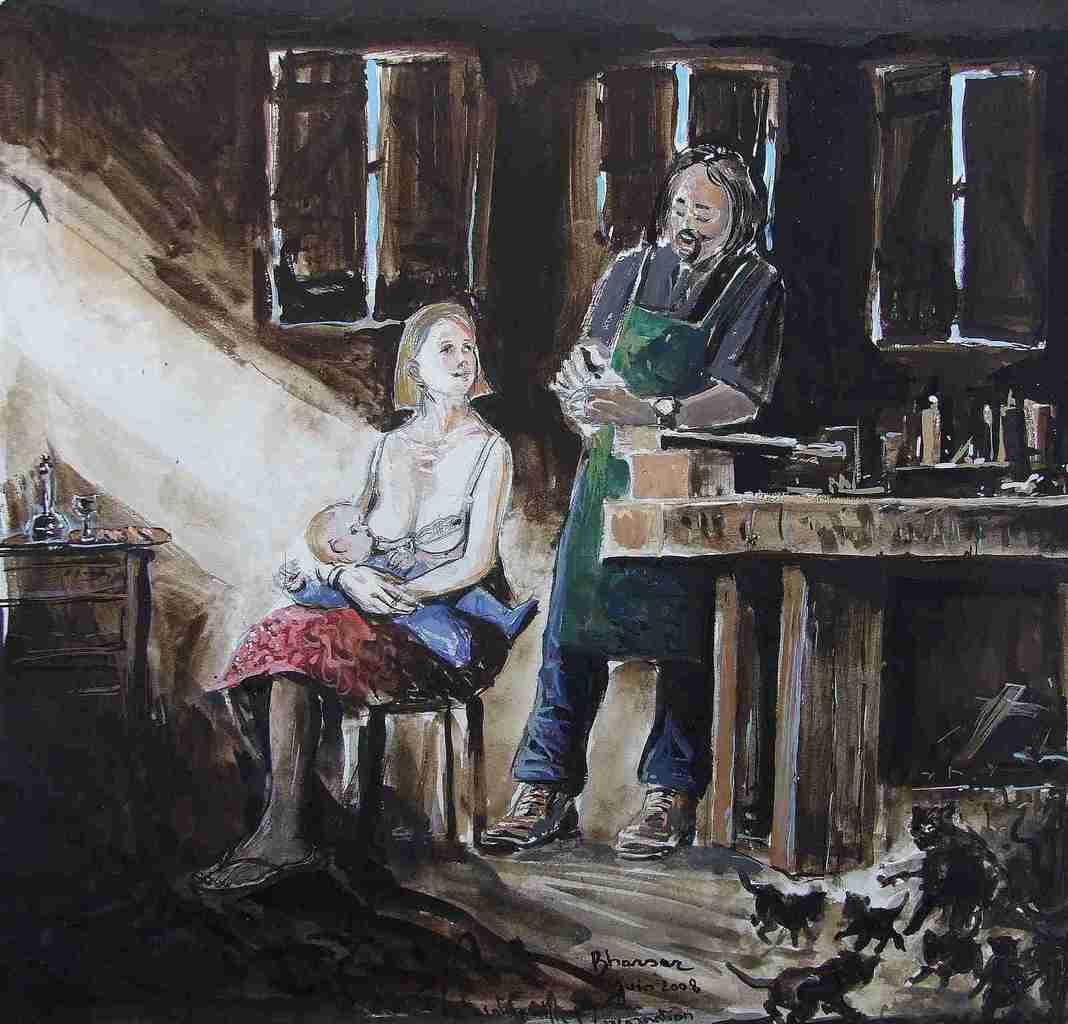 L'atelier de Joseph ou La Sainte Famille 40x40 Gouache 2008 Bhavsar