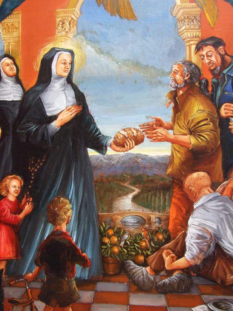 Sainte Jeanne de Chantal, Détail (Jeanne faisant l'aumône) Huile sur toile 2014/2016 Bhavsar 130x97