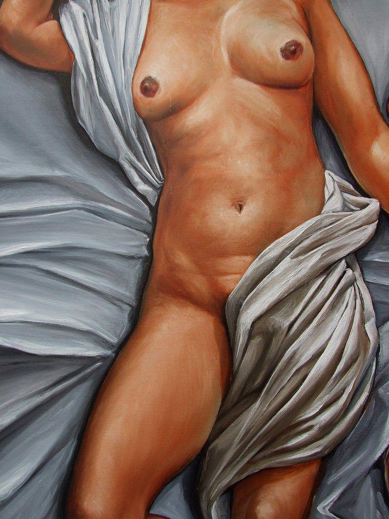 La vanité ou Les deux femmes nues aux drapés Détails  195X130  Huile sur toile Bhavsar