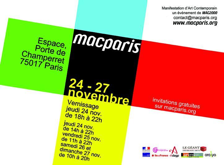 J'expose à Paris, à l'Espace Champerret du 24 au 27 novembre. Je vous y attends (voir le carton ci-dessous). Allez sur macparis.org pour avoir des invitations gratuites