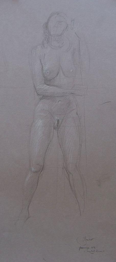 """Le chef-d'oeuvre de la Création est le corps de la femme. La beauté, la douceur et la grâce de la lumière s'y allient. Le corps a toujours ému les peintres. L'apprentissage du dessin et de la peinture figurative et poétique reposent sur la maitrise de sa représentation. Je suis un peintre classique et j'ai pris les moyens de conquérir la beauté du corps humain, en faisant poser des modèles hommes et femmes nus à l'atelier pour les dessiner et les peindre sans relâche. """"Si les corps te plaisent, c'est Dieu que tu loueras, ô mon âme, reporte ton amour sur leur Auteur, pour ne point Lui déplaire dans les choses qui te plaisent"""" Saint Augustin Les Confessions 4,XII"""