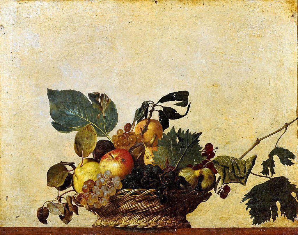 Corbeille de fruits Huile sur toile 46X64 Le caravage (Caravaggio) Pinacota Ambrosiana, Milan