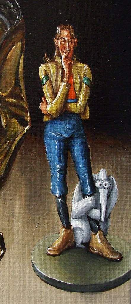"""Nature morte l'univers de Jean Giraud/Moebius"" (Inside Moebius) Détail : John Difool et Groot Huile sur toile 50X65 Bhavsar"