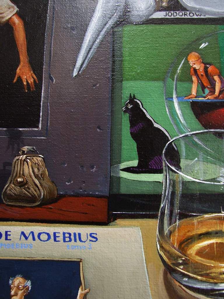 """""""Nature morte, l'univers de Jean Giraud/Moebius"""" (Inside Moebius) Détail : Les yeux du chat Huile sur toile 50X65 Bhavsar"""