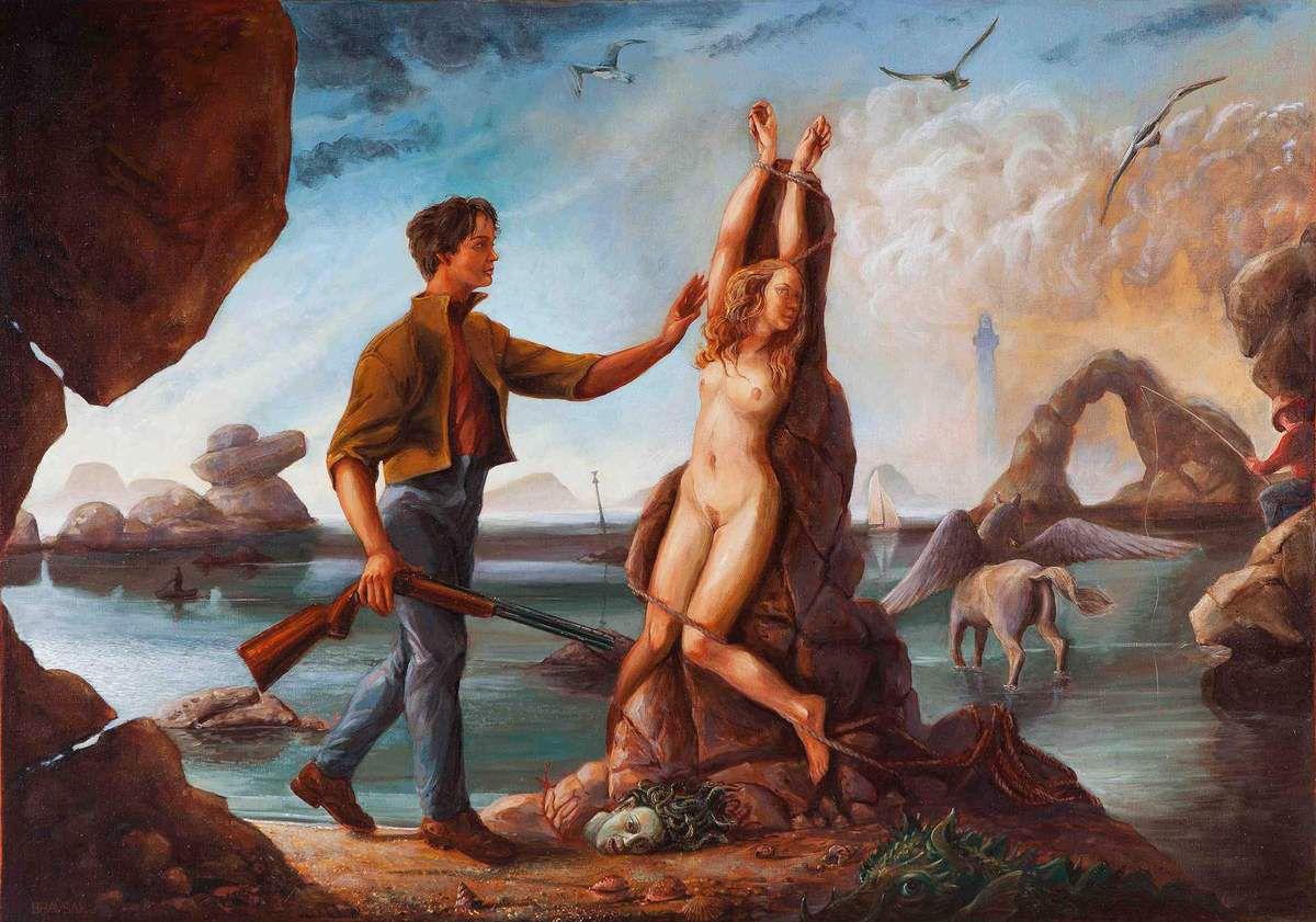Le portrait du peintre en jeune Persée délivrant Andromède  Huile sur toile 114x146 Bhavsar. On peut remarquer dans le dessin préparatoire qu'un envol de mouettes accompagne le geste libérateur de Persée. Peut-être aurais-je du le mettre aussi dans le tableau.