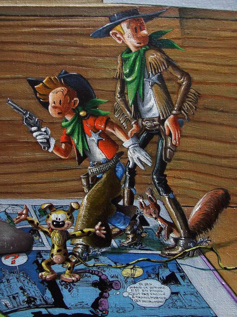 L'univers de Franquin 3  ou Nature morte pour Franquinophile Détail Spirou, Fantasio et Spip ; Le Zantajet 80x80 Huile sur toile Bhavsar