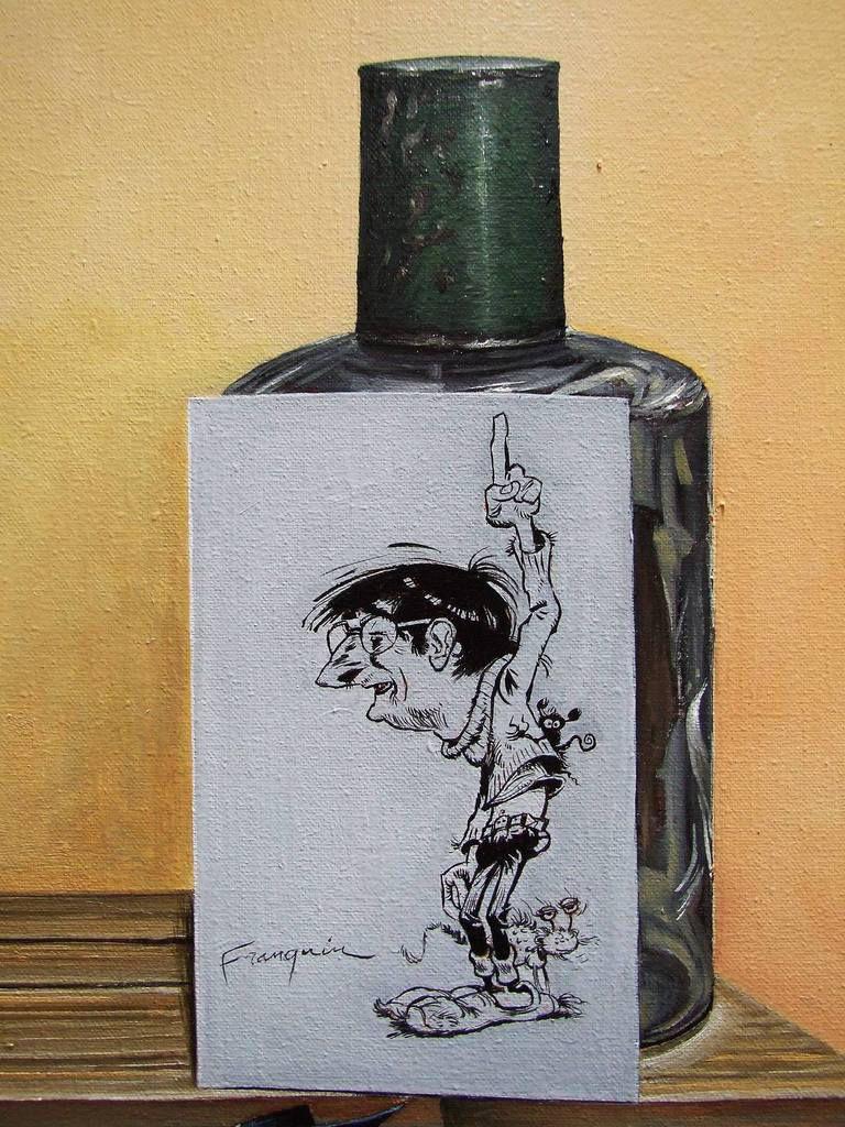 L'univers de Franquin 3  ou Nature morte pour Franquinophile Détail Autoportrait de Franquin en Gaston. 80x80 Huile sur toile Bhavsar
