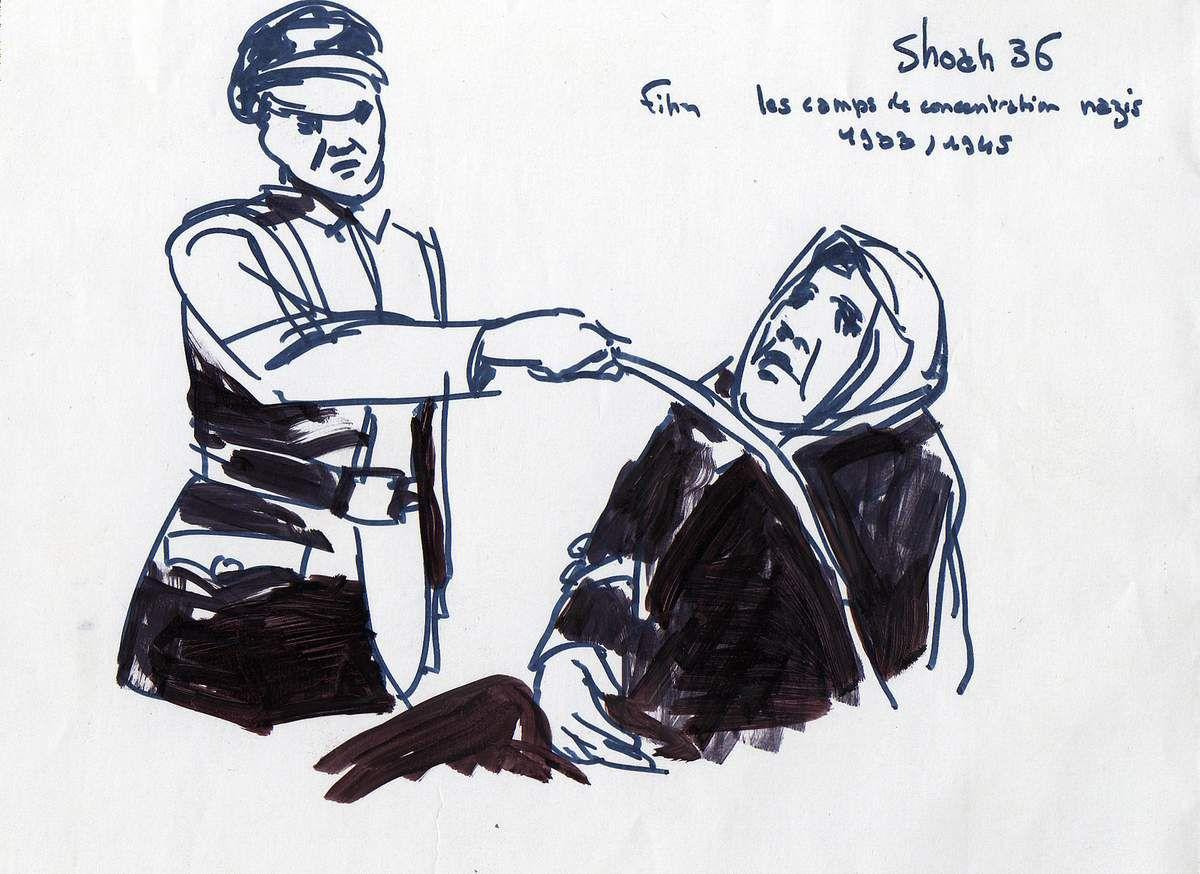 Officier nazi frappant une femme au visage Feutre sur papier 12x21 Bhavsar