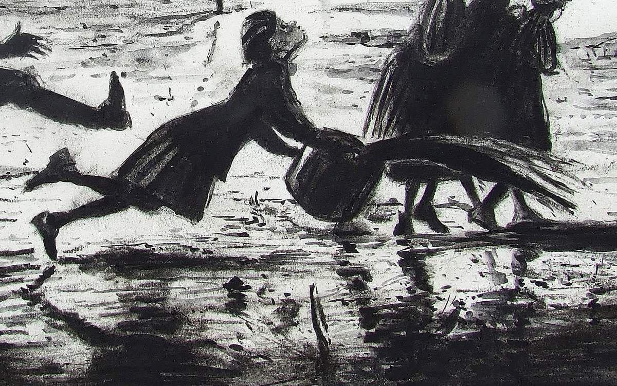 Shoah, Le coup de pied ou La soupe renversée, détail : la déportée martyrisée. Fusain et gouache sur papier 40X60 Bhavsar