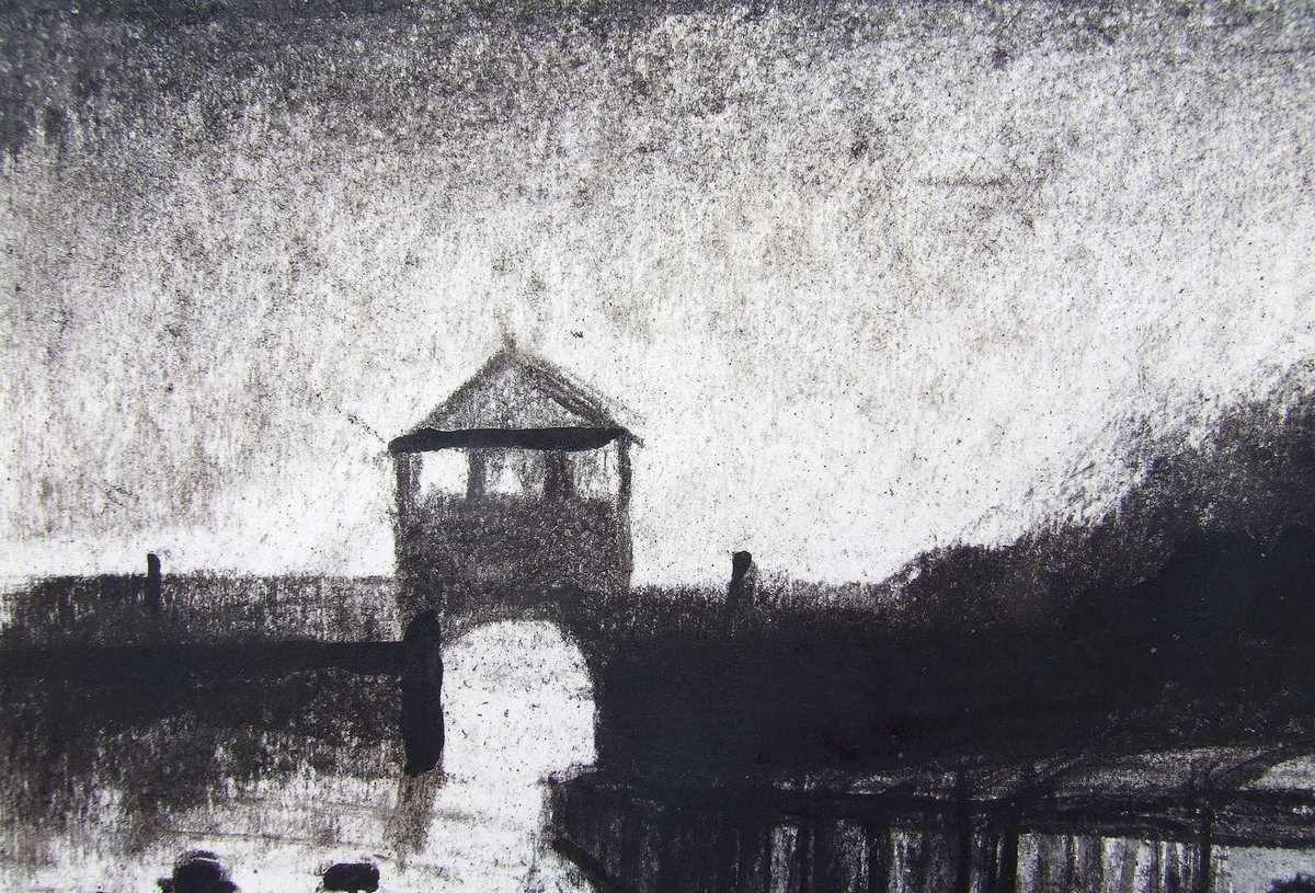 Triage et sélection à Auschwitz, détail : l'entrée et le train à bestiaux. Fusain et gouache sur papier 45x65 Bhavsar