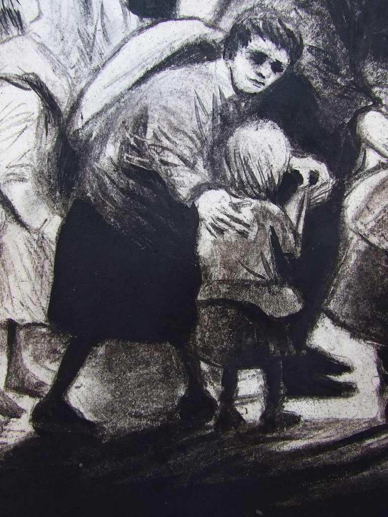 Triage et sélection à Auschwitz, détails : les familles se séparant. Fusain et gouache sur papier 45x65 Bhavsar