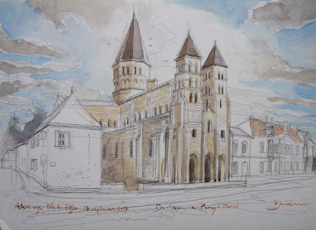 Basilique de Paray-le-Monial  Aquarelle  21x30  16 09 2017 Bhavsar