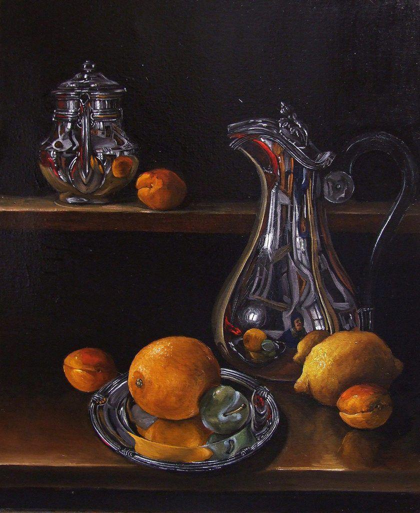 Argenterie et citron Huile sur toile  -  Argenterie et fruits Huile sur toile 55x46  Bhavsar