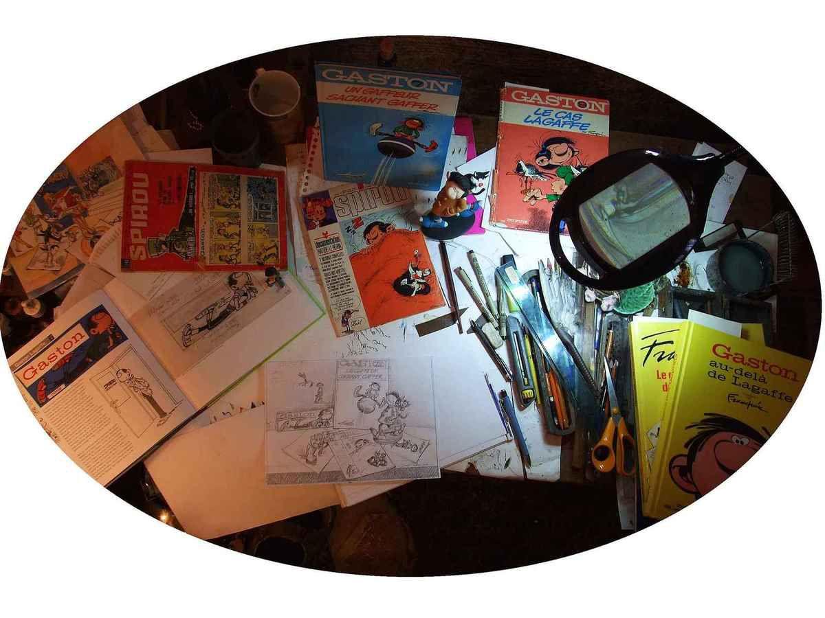 """Travail sur Gaston Lagaffe, le dessin préparatoire de la """"Nature morte BD Gaston Lagaffe"""" Crayon 21x30"""