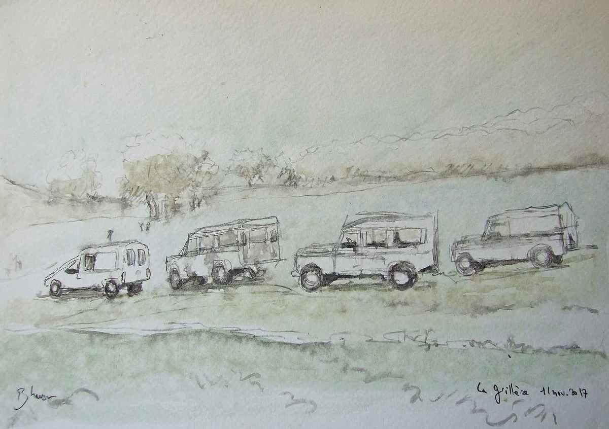 Chasse Domaine de La Grillère (Allier) et Chasse à la Haute-Borne (Seine et Marne)  Crayon et aquarelle 21x30 Bhavsar