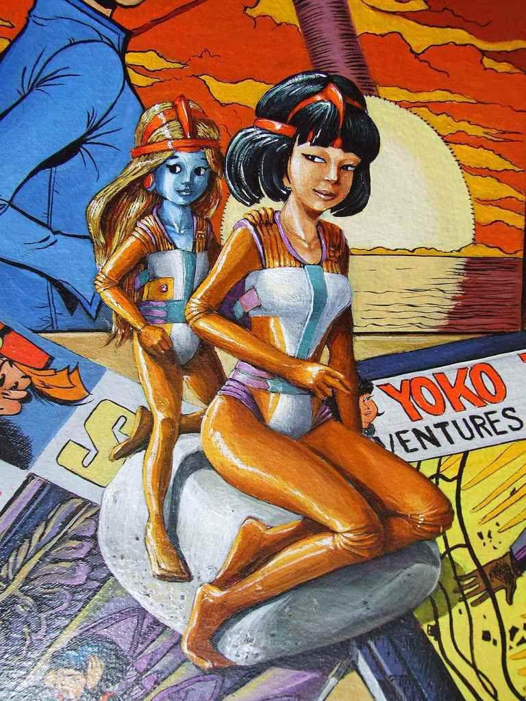 Nature morte BD Yoko Tsuno (Roger Leloup) Détail, Huile sur toile 50x65