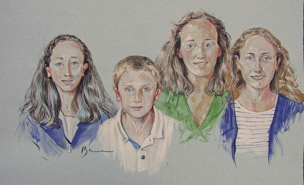 Portraits des enfants P. Fontainebleau  Gouache sur papier 42x65 Bhavsar